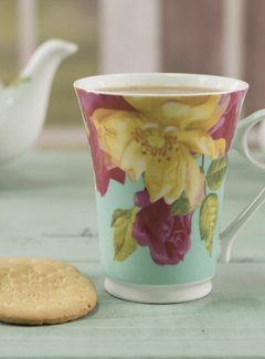 Kew Gardens; Engels servies met bloemen Southbourne Rose; hoge mok mintgroen