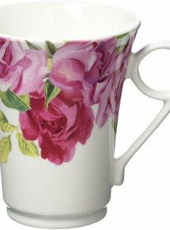 Kew Gardens; Engels servies met bloemen Southbourne Rose; hoge mok rozen wit