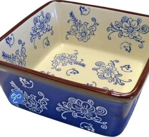 Lavandoux-Ceramics; Prachtige ovenschalen Ovenschaal Floral Lace Blue- vierkant 17 cm.