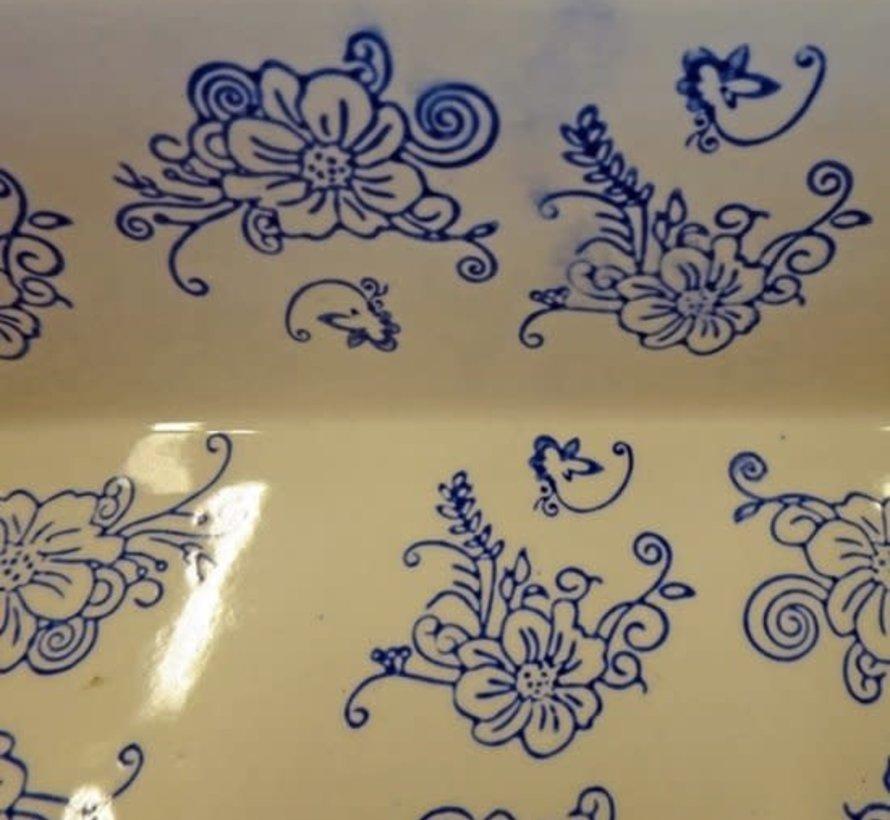 Ovenschaal Floral Lace Blue- vierkant 17 cm.