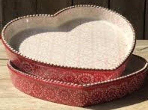 Lavandoux-Ceramics; Prachtige ovenschalen Ovenschaal rood hart