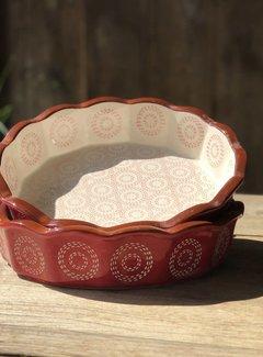 Lavandoux-Ceramics; Prachtige ovenschalen Copy of Ovenschaal rood floral lace  -schulp-