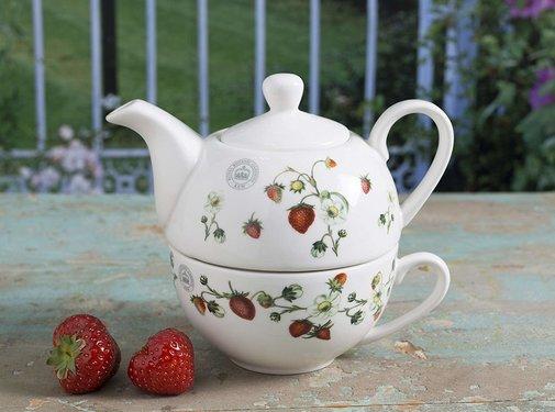 """Kew Gardens; Engels servies met bloemen Tea for One set Kew """"Strawberry Fayre"""""""