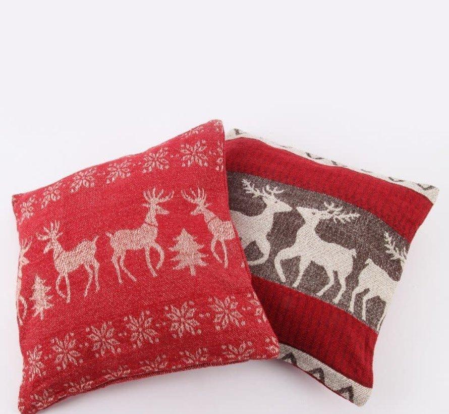 Kerstkussen Baroque 501 rood/taupe