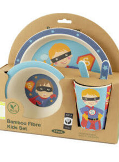 Zisensa, private collection Unieke woonaccessoires Bambo Kinder dinerset Super Hero 5 delig