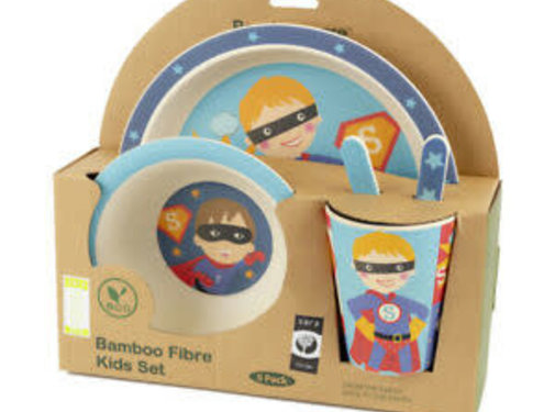 Zisensa, private collection Unieke woonaccessoires Bambo Kinder dinerset Super Hero 5 delig