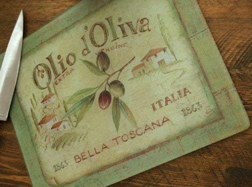 KitchenCraft; Engelse Kwaliteitsprodukten Glazen werkbladbeschermer Olio d'Olivia