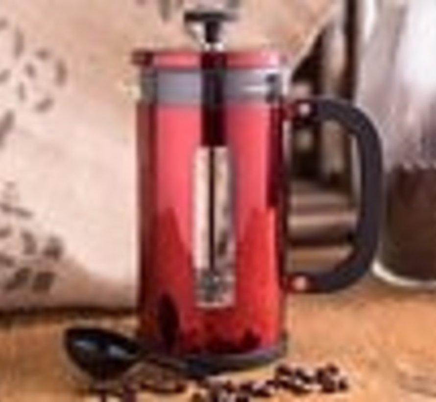 La Cafetière Pisa; hittebestendig glazen cafetière rood 8 kops