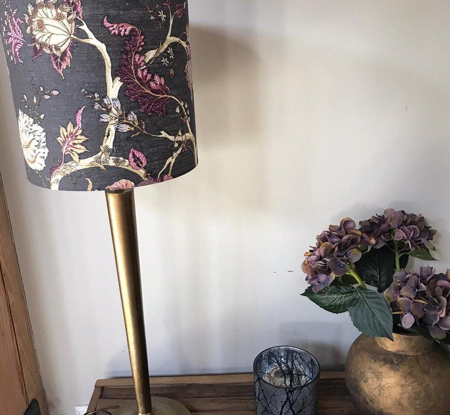 lampenkap grijs met bloemen