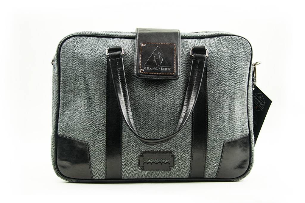 Thomas - Harris Tweed Laptop Bag - Grey/Black