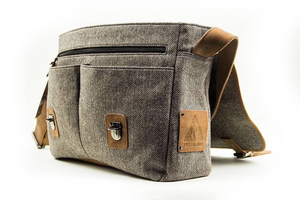 Billy - Tweed Messenger Bag Beige/Brown