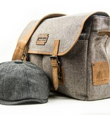 Billy - Harris Tweed Messenger Bag Beige/Brown