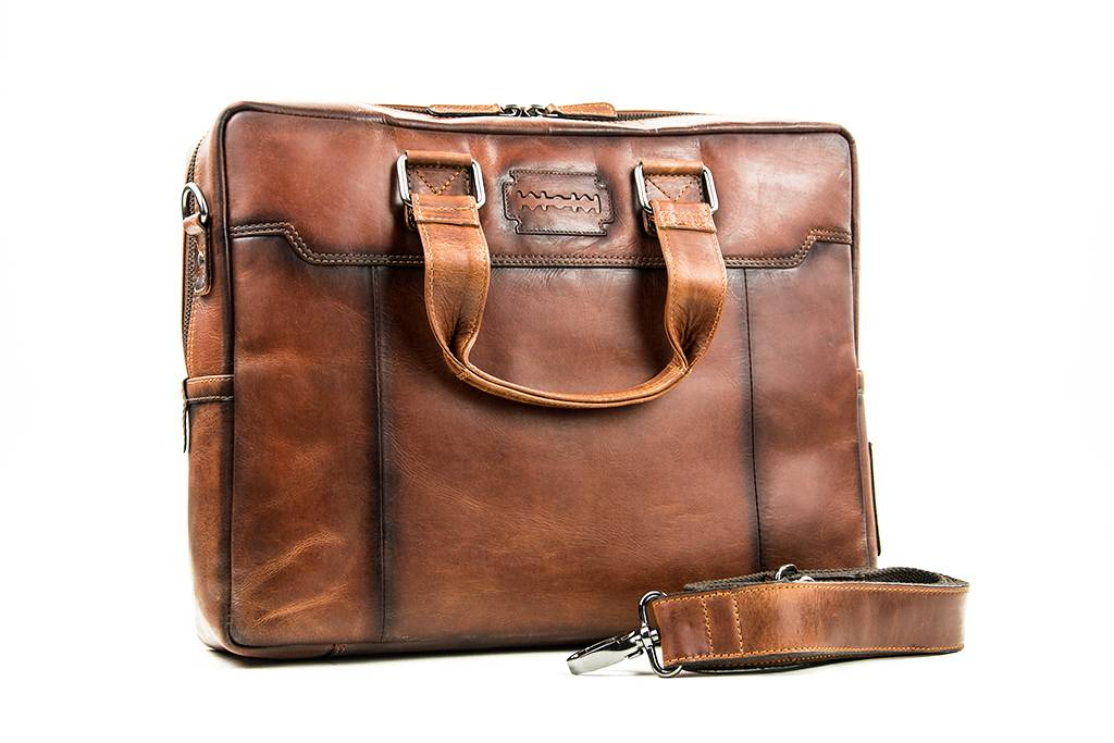 Alfie - Italian Leather Briefcase - Brown