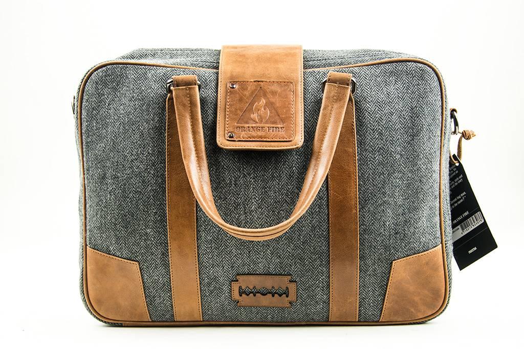 John - Tweed Laptop Bag - Grey/Brown