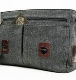Curly - Harris Tweed Messenger Bag - Grey/Brown