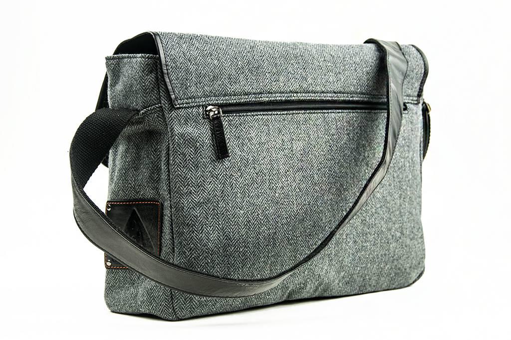Freddie - Tweed Messenger Bag - Grey/Black