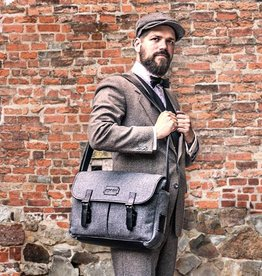 Freddie - Harris Tweed Messenger Bag Grey