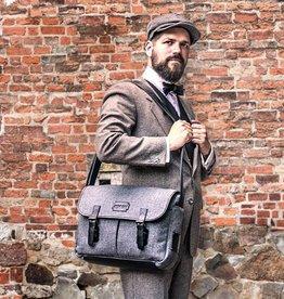 Freddie - Tweed Messenger Bag Grey/Black
