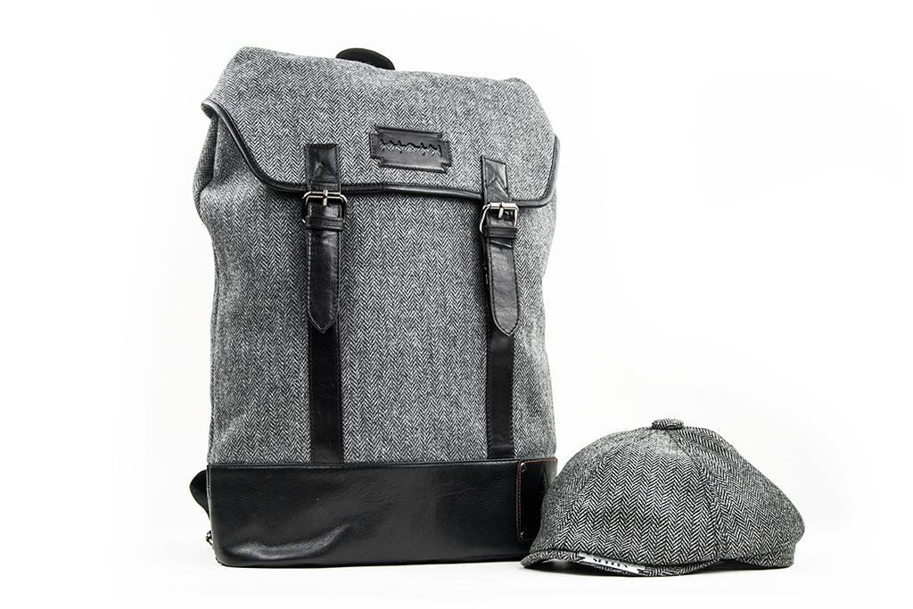 Danny - Harris Tweed Backpack - Grey/Black