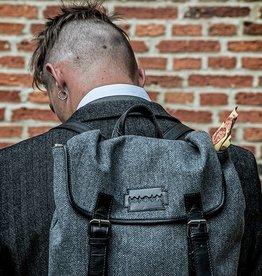 Danny - Tweed Backpack Grey/Black