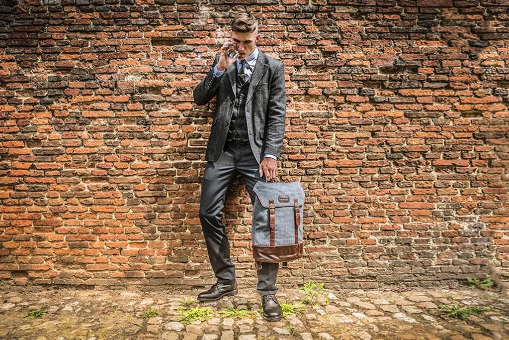 Charlie - Harris Tweed Backpack Grey/Brown