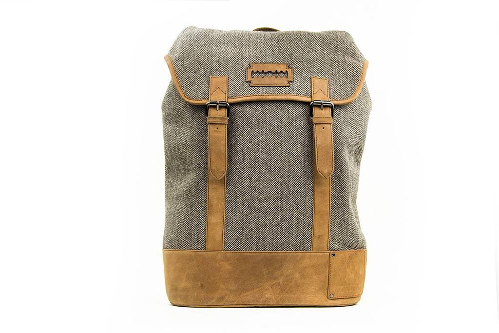 Isaiah - Tweed Backpack Brown/Beige