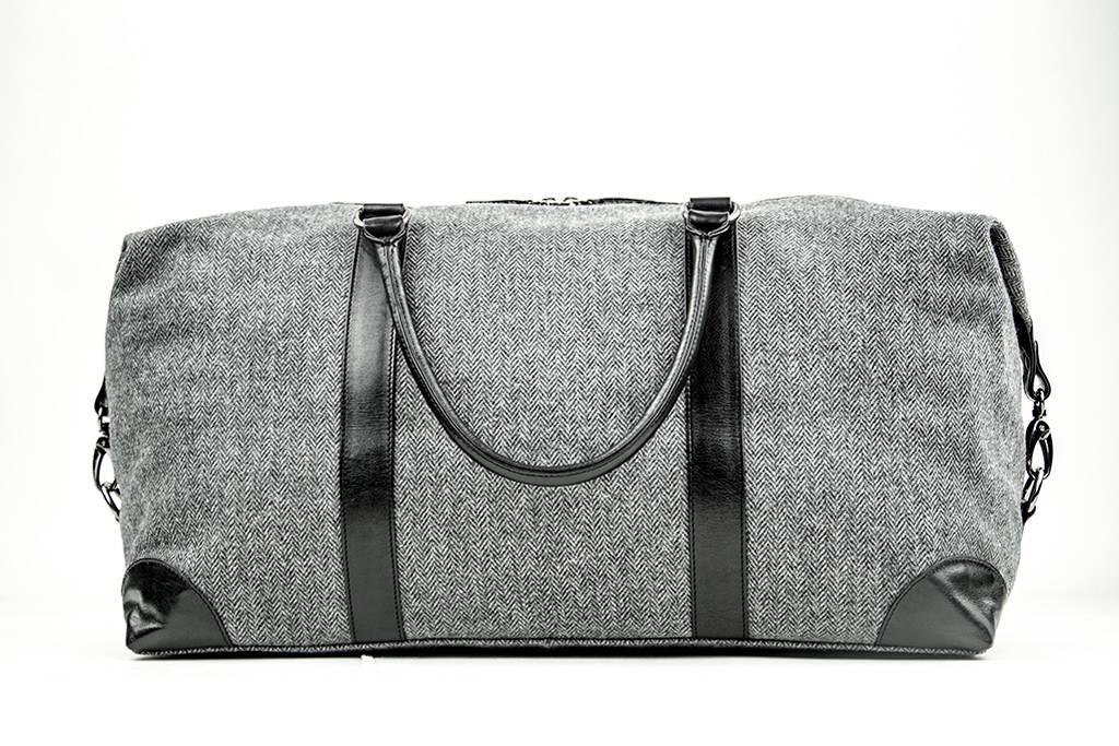 Small Heath - Tweed Duffle Bag - Grey/Black
