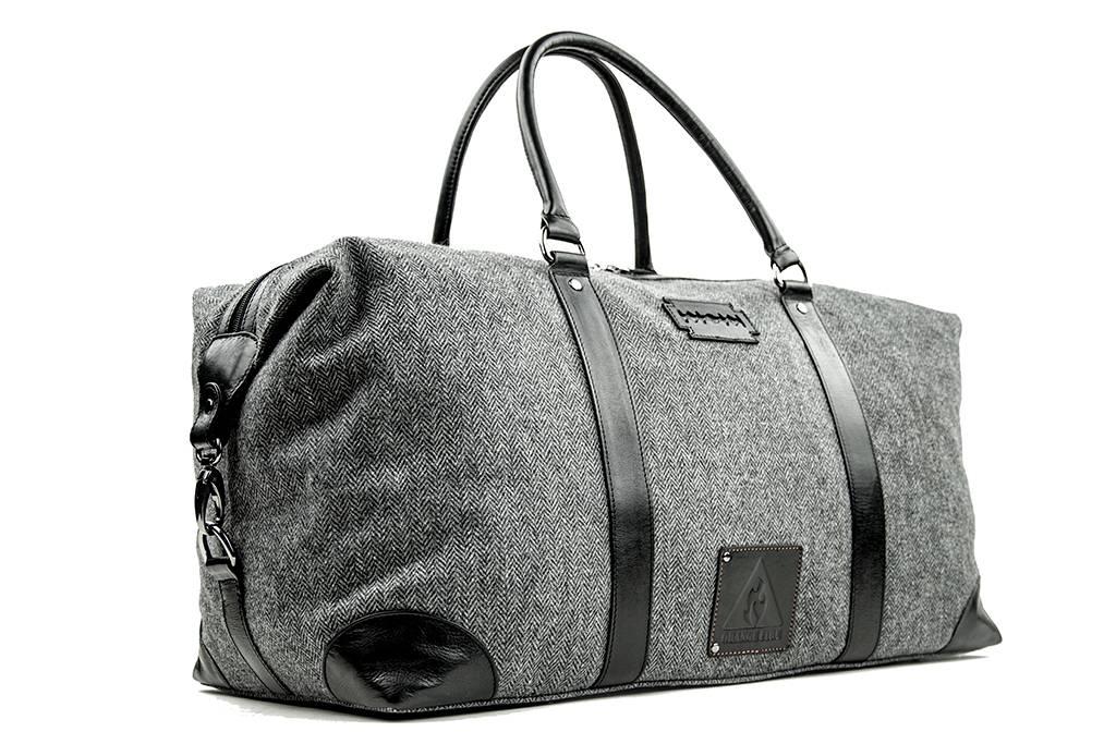Small Heath - Harris Tweed Duffle Bag - Grey/Black