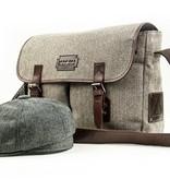 Finn - Harris Tweed Messenger Bag - Grey/Brown