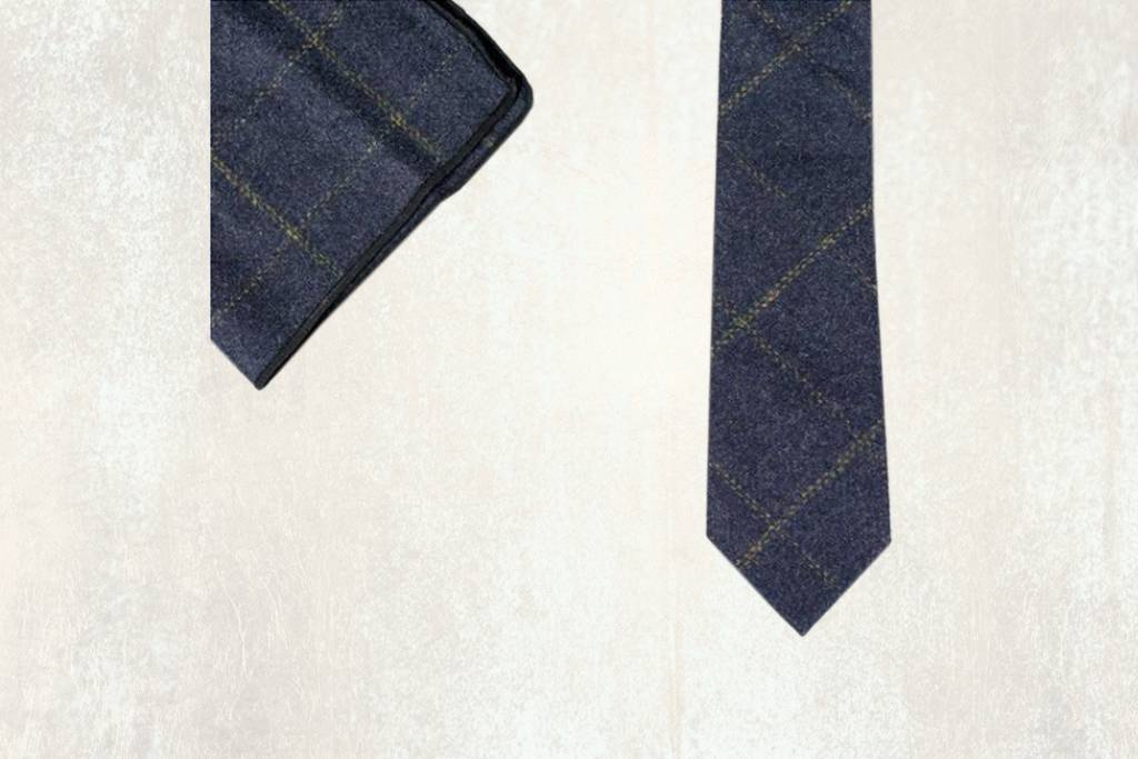 Navy tweed tie set Thomas