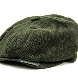 Shelby - Harris Tweed Flat Cap - Dark Olive