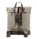 Aberama - Tweed Roll Top Backpack Brown/Dark Brown
