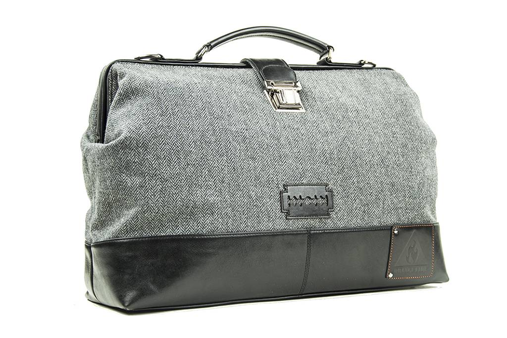 The Gypsy - Harris Tweed Duffle Bag - Grey/Black