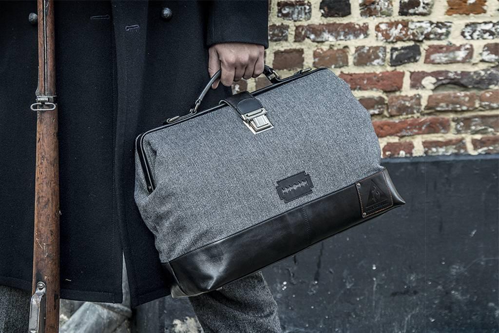 The Gypsy - Harris Tweed Duffle Bag - Grey/Black