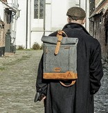 Johnny - Tweed Roll Top Backpack - Grey/Brown