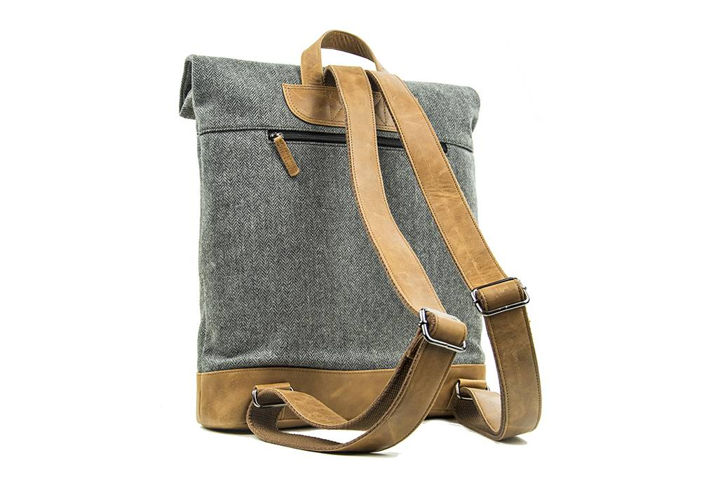 Johnny - Harris Tweed Roll Top Backpack - Grey/Brown