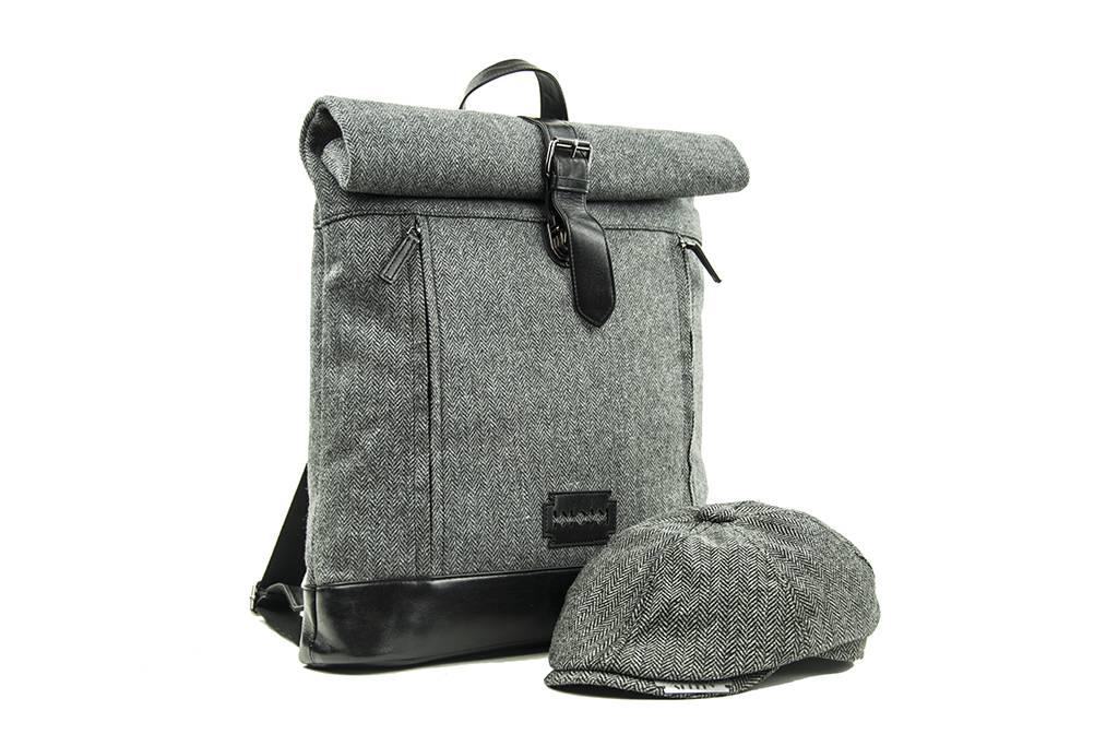 Jeramiah - Tweed Roll Top Backpack - Grey/Black