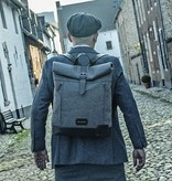 Jeramiah - Harris Tweed Roll Top Backpack - Grey/Black