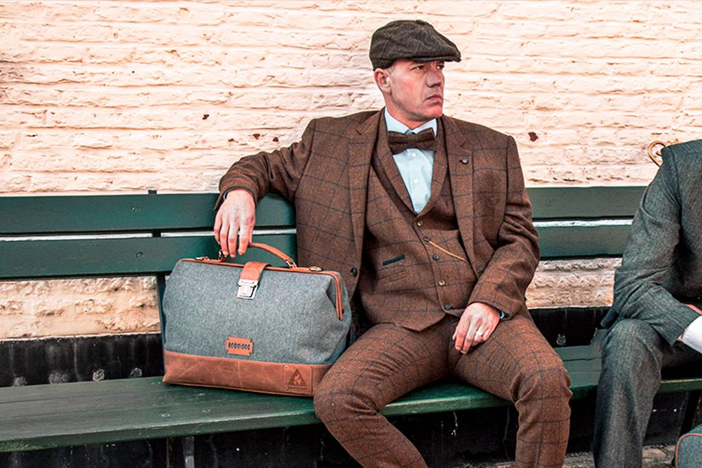 The Garrison  - Harris Tweed Duffle Bag - Grey/Brown