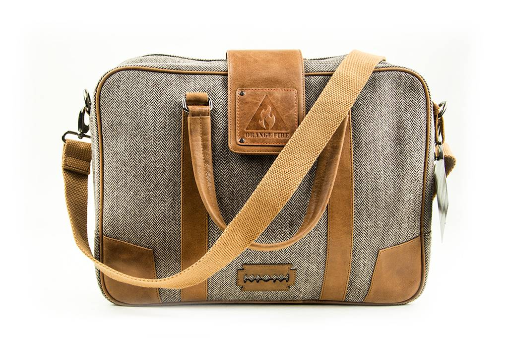 Arthur - Harris Tweed Laptop Bag - Beige/Grey/Brown