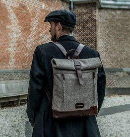 Aberama - Tweed Roll Top Backpack Brown