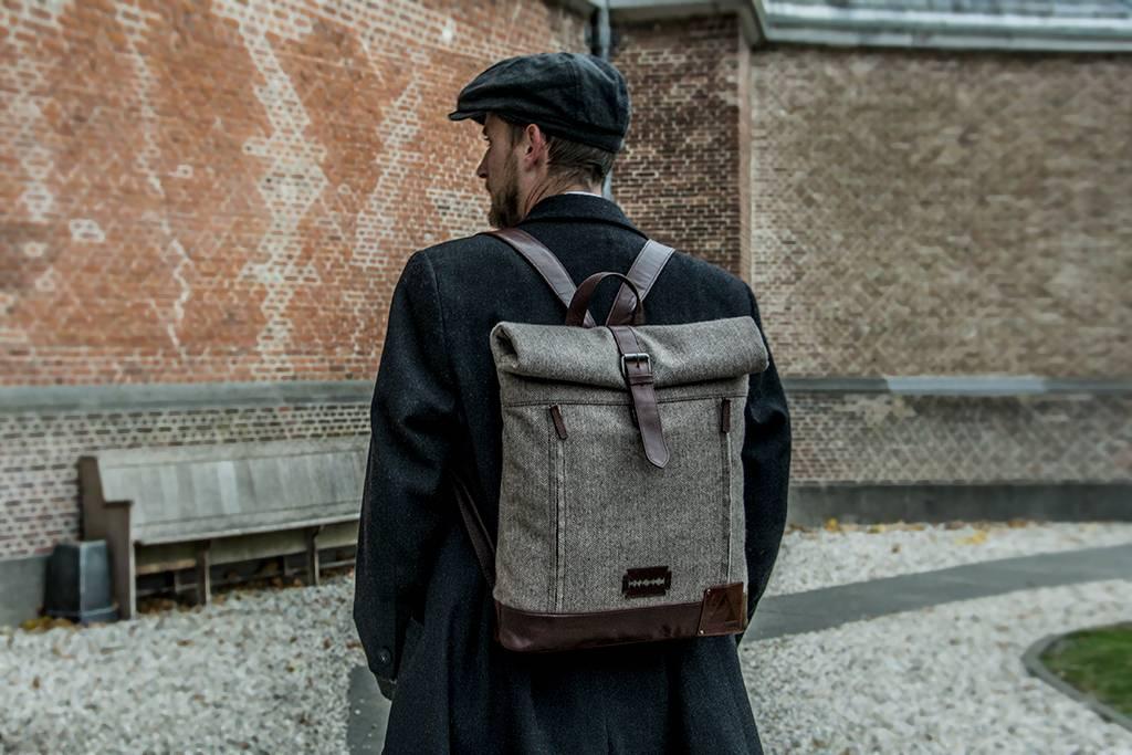 Aberama - Harris Tweed Roll Top Backpack Brown/Dark Brown