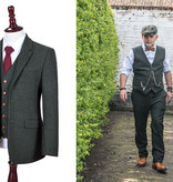 3-piece tweed suit  Green Herringbone