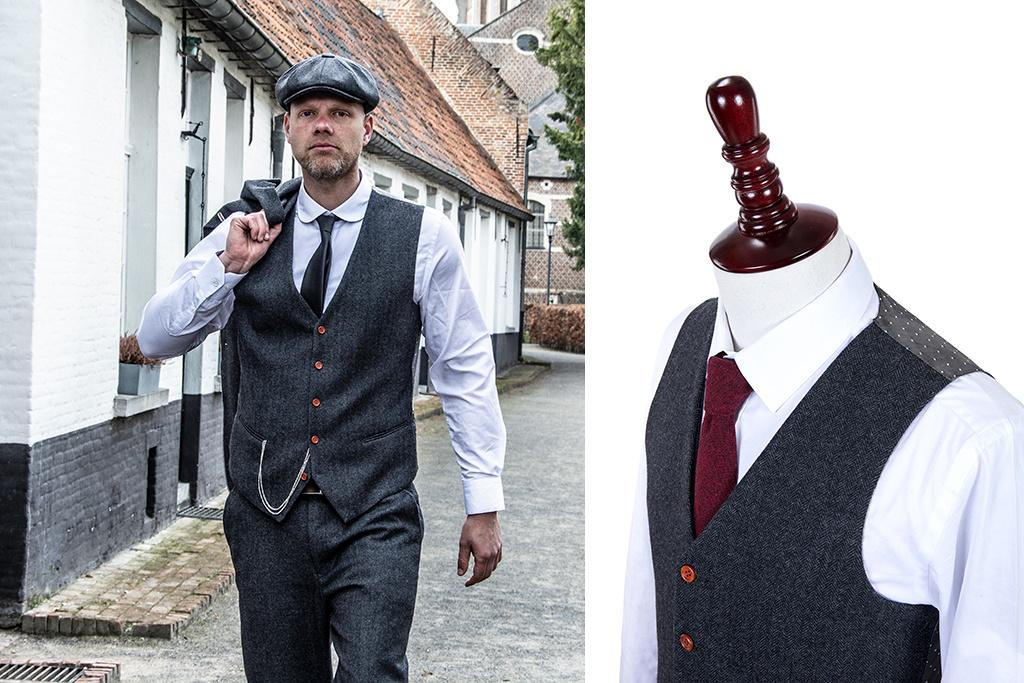 3-piece tweed suit  Charcoal Grey Herringbone