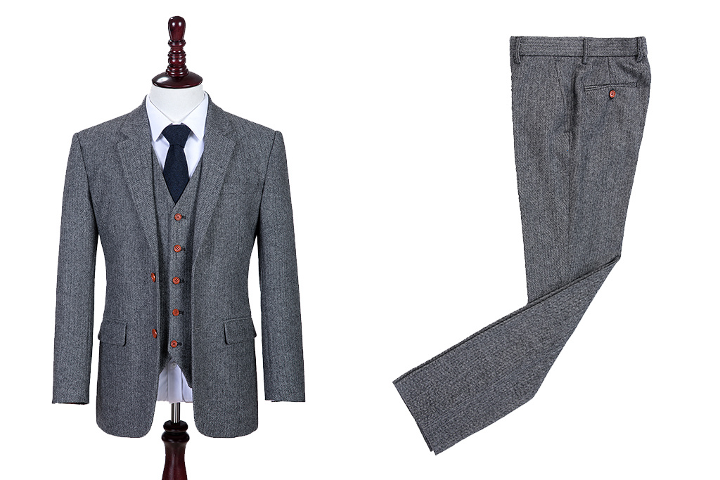 3-piece tweed suit Classic Grey Herringbone
