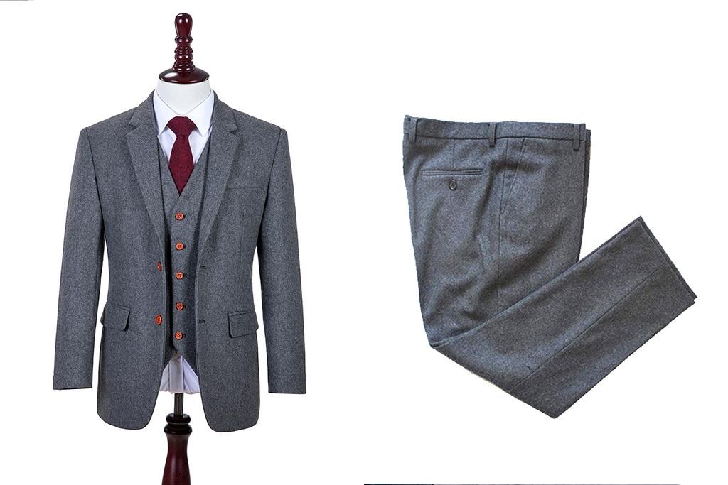 3-piece tweed suit Grey Twill