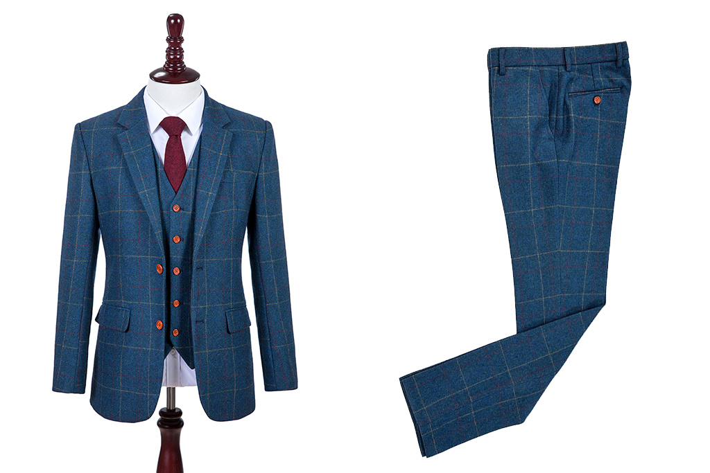 3-piece tweed suit Blue Overcheck Twill