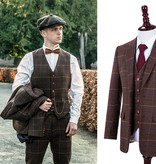 3-piece tweed suit Brown Overcheck Twill