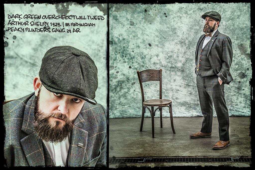 3-piece tweed suit  Dark Green Overcheck Twill