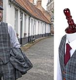 3-piece tweed suit Grey Sky Blue Houndstooth